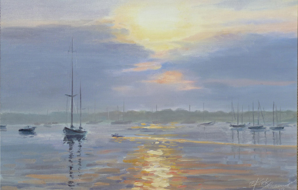 Kirk Larsen- Sunrise on the Harbor 16x20 oil on canvas